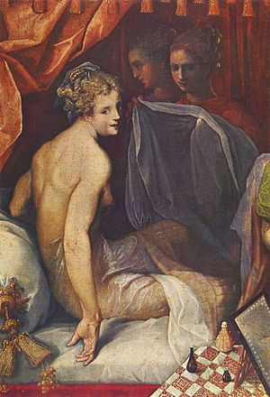 "Toussaint Dubreuil - ""Hyacinthe and Climène at Their Morning Toilet"" (detail) (a scene from Pierre de Ronsard's Franciade -  (1602) (Louvre)"