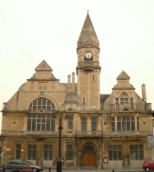 Trowbridge Town Hall, as seen from Fore Street. Market Street runs along the bottom of the picture.