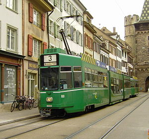 Trams in Basel - BVB tram on line 3.