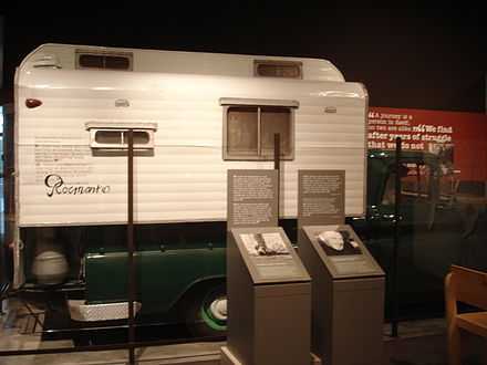 Rocinante, camper truck in which Steinbeck traveled across the United States in 1960 TravelswithCharlieVehicle.jpg