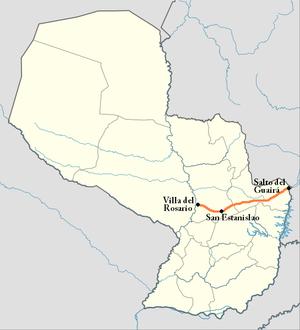 Route 10 (Paraguay) - Image: Trayecto Ruta 10 Paraguay