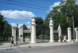 Gates at the south entrance of Trinity Bellwoods Park