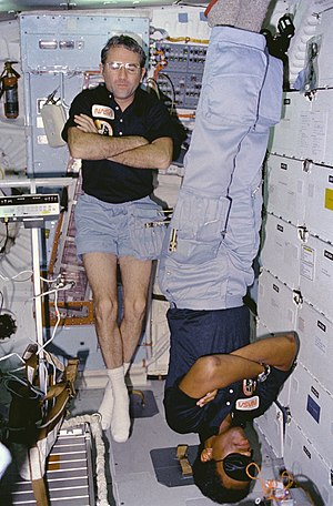 Blindfold - Astronauts Richard H. Truly and Guion Bluford sleeping on board the Challenger. Bluford, in the foreground (upside-down) wears a sleep mask.  Astronauts may find it difficult to sleep in space.