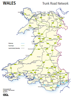 Road Map Of Wales Trunk roads in Wales   Wikipedia Road Map Of Wales