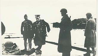 Tsutsumi Fusaki - Lieutenant General Tsutsumi Fusaki, arriving to negotiate the surrender of the garrisons of the north-Kuril Islands