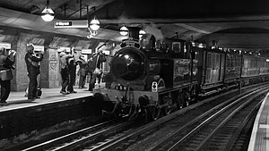 Great Portland Street tube station - Image: Tube 150 Metropolitan Railway No. 1 Steam Train at Great Portland Street Tube Station