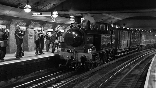 Tube150 - Metropolitan Railway No. 1 Steam Train at Great Portland Street Tube Station