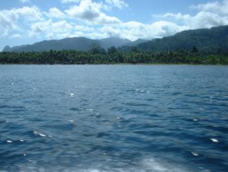 Seram Island - View from a boat towards Tulehu, on the North Seram coast