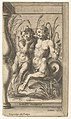 Two tritons embracing, one playing a panpipe, the second holding a conch shell set within a recessed space MET DP831524.jpg