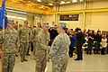 U.S. Army Maj. Gen. Frank Vavala, right foreground, the adjutant general of the Delaware National Guard, speaks with Capt. Tom Emerson before a deployment ceremony in New Castle, Del., Nov. 8, 2013 131208-Z-GL773-648.jpg