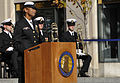 U.S. Navy Fleet Master Chief of Manpower, Personnel, Training and Education April Beldo, at lectern, delivers remarks during a Veterans Day wreath-laying ceremony at the U.S. Navy Memorial in Washington, D.C 131111-N-ES994-199.jpg
