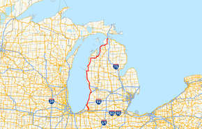 US 31 runs north–south through the Lower Peninsula of Michigan, crossing into the state from Indiana near Niles and then running along the Lake Michigan shoreline from the Benton Harbor–St. Joseph area to Mackinaw City