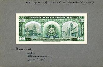 Silver certificate (Cuba) - Image: US BEP República de Cuba (progress proof) 100 silver pesos, 1930s (CUB 74 reverse)