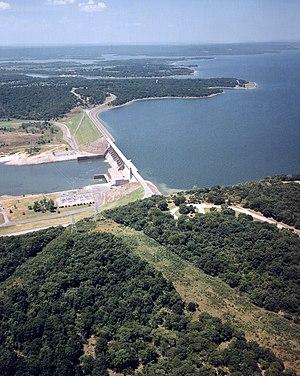 Eufaula Lake - Aerial view of Lake and Dam