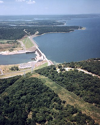Eufaula Lake - Aerial view of Lake and Dam