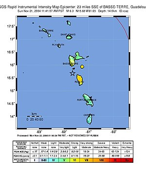 2004 Les Saintes earthquake - USGS ShakeMap for the event