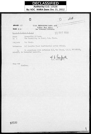 USS Freestone (APA-167) - Image: USS Freestone War Diary Pg 01 Nov 1944