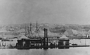 USS Onondaga (1863) - Onondaga, at Brest, France, circa the late 1860s or the 1870s.