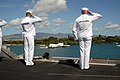 US Navy 030426-N-6817C-024 Sailors aboard USS Abraham Lincoln (CVN 72) render honors to the Arizona Memorial during a recent port visit to Pearl Harbor.jpg
