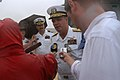US Navy 040723-N-9742R-062 Commander, Cruiser Destroyer Group Three, Rear Adm. Barry McCullough speaks with members of the media following the return of USS Enterprise (CVN 65) to Naval Station Norfolk, after participating in S.jpg