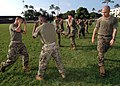 US Navy 061106-N-0879R-003 Marine Corps Sgt. Edward Mertz of Combat Service Support Group Three (CSS-3), Marine Corps Base Hawaii, Kaneohe Bay, conducts Marine Corps Martial Arts Program (MCMAP) Tan Belt training.jpg