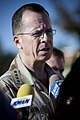 US Navy 071024-N-0696M-477 Chairman of the Joint Chiefs of Staff, U.S. Navy Adm. Mike Mullen answer questions during a media availability after at a town hall meeting with soldiers stationed at Fort Riley.jpg