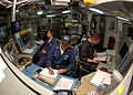 US Navy 090726-N-5148B-067 Sailors stand watch in the casualty control station aboard the amphibious dock landing ship USS Rushmore (LSD 47).jpg