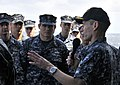 US Navy 100321-N-4774B-283 Rear Adm. Ted N. Branch, commander of Carrier Strike Group (CSG) 1, speaks to Sailors aboard the guided-missile cruiser USS Bunker Hill (CG 52).jpg