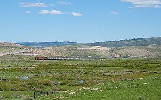 Colton, Utah - Utah Railway train passing Colton, June 2010