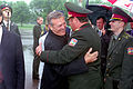Ukrainian Minister of Defense, General of the Army Olekasander Kuzmuk bids farewell to the Honorable Donald H. Rumsfeld, U.S. Secretary of Defense, at Borispol Airport in Kiev, Ukraine on Jun. 5, 2001 010605-D-WQ296-214.jpg