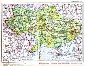 Ukrainian SSR in 1940, after the Soviet invasions of Poland and Romania and before the German invasion of Soviet Union.