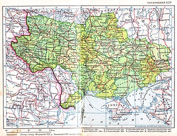 Ukrainian SSR. Scale 1:9,000,000 (year 1940). ...
