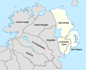 Iveagh - Ulaid during the 12th century and its three main sub-kingdoms, including Uí Echach Cobo, along with some of its neighbouring kingdoms.