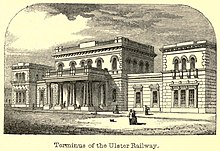 Drawing of a grand Victorian stone building, with its central entrance lined with columns.
