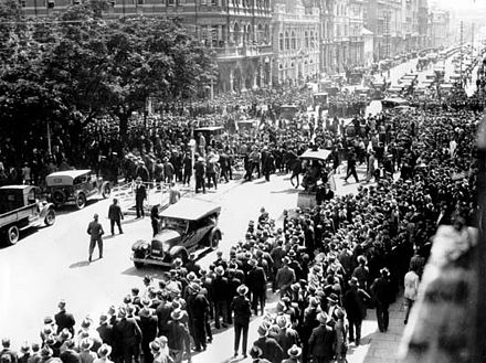 In 1931, over 1,000 unemployed men marched from the Esplanade to the Treasury Building in Perth, Western Australia to see Premier Sir James Mitchell. Unemployed marching to see Mitchell, 1931.jpg