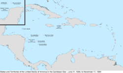 Map of the United States in the Caribbean Sea from June 21, 1884, to November 17, 1894