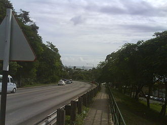 Cave Hill, Saint Michael, Barbados - University Drive, westbound with port in distance