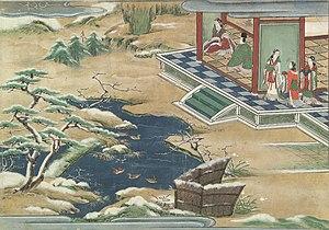 Ryūgū-jō - The Winter side of the palace, with a light snow on the garden