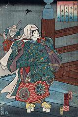 Benkei i Ushiwakamaru na moście Gojo w Kioto
