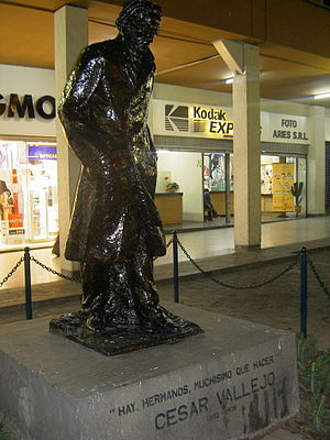 "César Vallejo - Monument to César Vallejo in Lima. The engraving in Spanish quotes Vallejo ""There is, brothers, very much to do."""