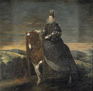 Equestrian Portrait of Margarita of Austria - Portrait before 2011 restoration (297 cm x 309 cm)