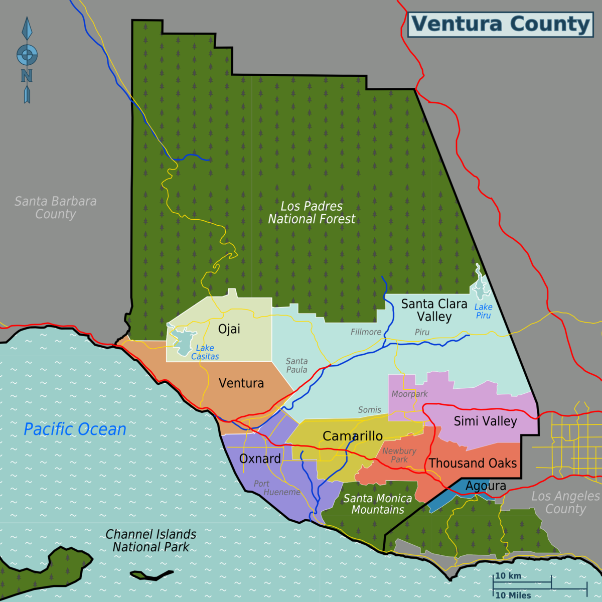 Ventura County  Travel Guide At Wikivoyage - Los angeles ventura map