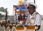Vice Admiral P Murugesan speaking at the launch of INS Tarmugli, INS Tilanchang and INS Tihayu.jpg