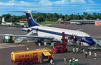 Murtala Muhammed International Airport - Lagos Airport in 1969. International terminal (right) and Domestic terminal (left).
