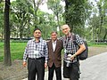 Victor Grigas with two Indian Wikimedians.JPG