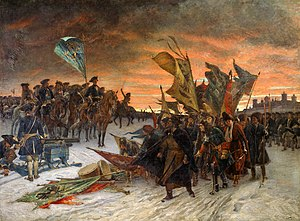 Battle of Narva (1700) - Russian force surrendering to Charles