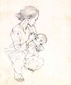 Vietnam Combat Artists Program - NURSING by Robert C. Knight, CAT I, 1966, Courtesy of the National Museum of the U.S. Army