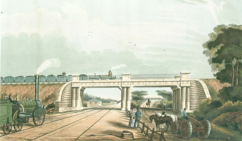 File:View of the Intersection Bridge, from Bury's Liverpool and Manchester Railway, 1832 - edgehill 2.jpg