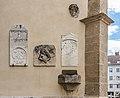 Villach Innenstadt Kirchenplatz 12 Pfarrkirche hl. Jakob W-Wand Epitaphien 26082018 3702.jpg