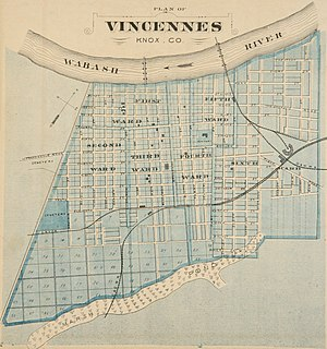 Vincennes, Indiana - Map of Vincennes from 1876 atlas